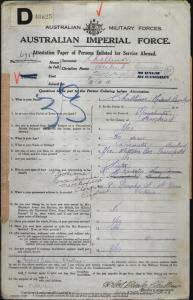 Challinor Herbert Bromley : SERN 6981 : POB Manchester England : POE Broadmeadows VIC : NOK S Rushton Mrs H