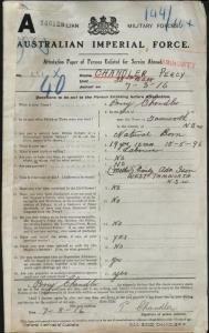 Chandler Percy : SERN 231 : POB Tamworth NSW : POE Armidale NSW : NOK M Ison Emily Ada