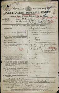 Chaplain Cyril [Chaplin Cyril] : SERN 975 : POB Launceston TAS : POE Ross TAS : NOK F Chaplain Agusta