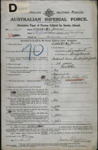 Charters James : SERN 5313 : POB Liverpool England : POE Melbourne VIC : NOK W Charters Emily