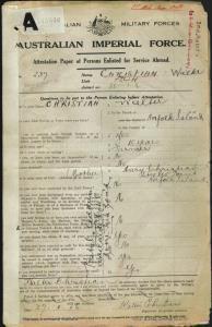 Christian Walter : SERN 237 : POB Norfolk Island : POE Liverpool NSW : NOK M Christian Mary
