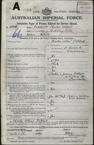 Cobbett Charles Albert : SERN 22057 : POB St Leonards TAS : POE Claremont TAS : NOK F Cobbett James