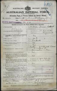 Cobbett William James : SERN 2946 : POB St Leonards TAS : POE Claremont TAS : NOK M Cobbett Elizabeth