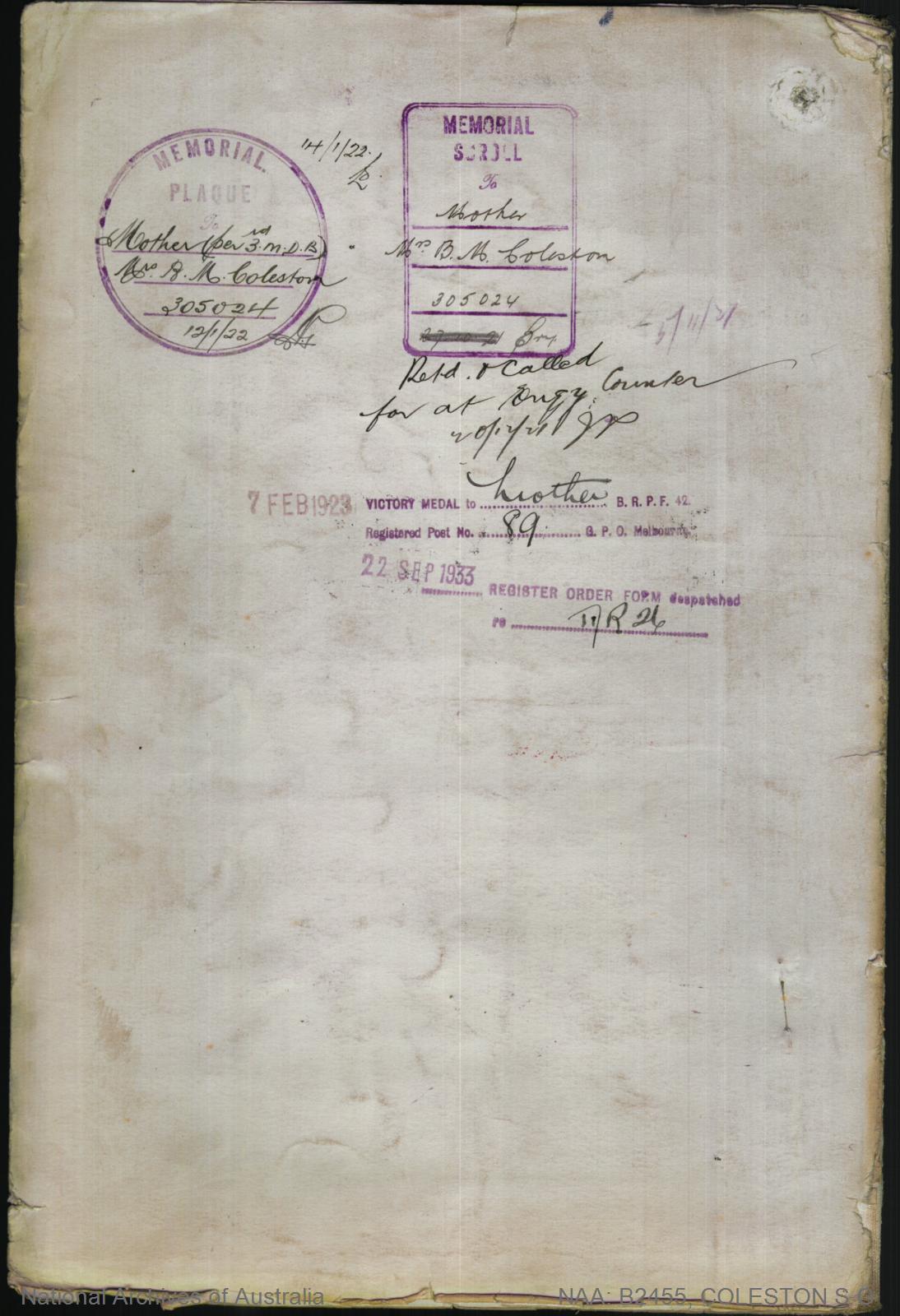 Coleston Stanley George : SERN 3039 : POB Warrnambool VIC : POE Melbourne VIC : NOK M Coleston Bridget M