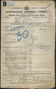 Commane Michael Harold : SERN 3636 : POB Hobart TAS : POE Claremont TAS : NOK W Commane Ethel May