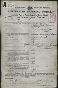 Connop Jack Edward : SERN 4676 : POB Mornington VIC : POE Melbourne VIC : NOK F Connop John Edward