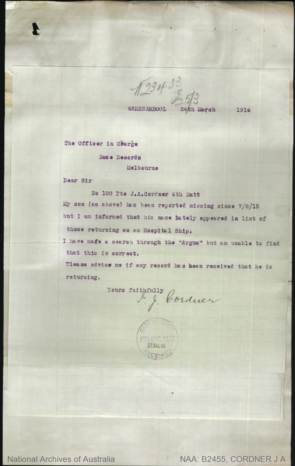Cordner Joseph Alan : SERN 180 : POB Bridgewater On Loddon VIC : POE Melbourne VIC : NOK F Cordner Joseph