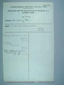 AUTHOR Dewduey Ellis : ADDRESS Beecroft, NSW : TITLE OF WORK War Map : TYPE OF WORK Map : APPLICANT Dewduey Ellis : DATE OF APPLICATION 7 Aug 1914 : DATE COPYRIGHT REGISTERED 13 Aug 1914 : WORK ENCLOSED? Yes