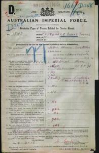 Costelloe Robert Thomas : SERN 1543 : POB Currabubula NSW : POE Armidale VIC : NOK F Costelloe James
