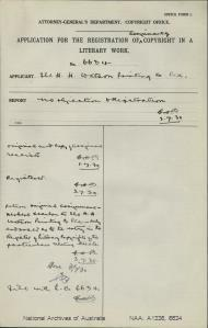 AUTHOR Herbert Scanlon : ADDRESS Ballarat, Vic : TITLE OF WORK Recollections of a Soldiers Life : TYPE OF WORK Book : APPLICANT Herbert Scanlon : DATE OF APPLICATION 20 Jun 1918 : DATE COPYRIGHT REGISTERED 28 May 1918 : WORK ENCLOSED? [Yes]