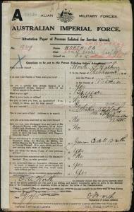 Worth Osmund Arthur : SERN 12319 : POB Melbourne VIC : POE Liverpool NSW : NOK F Worth Arthur