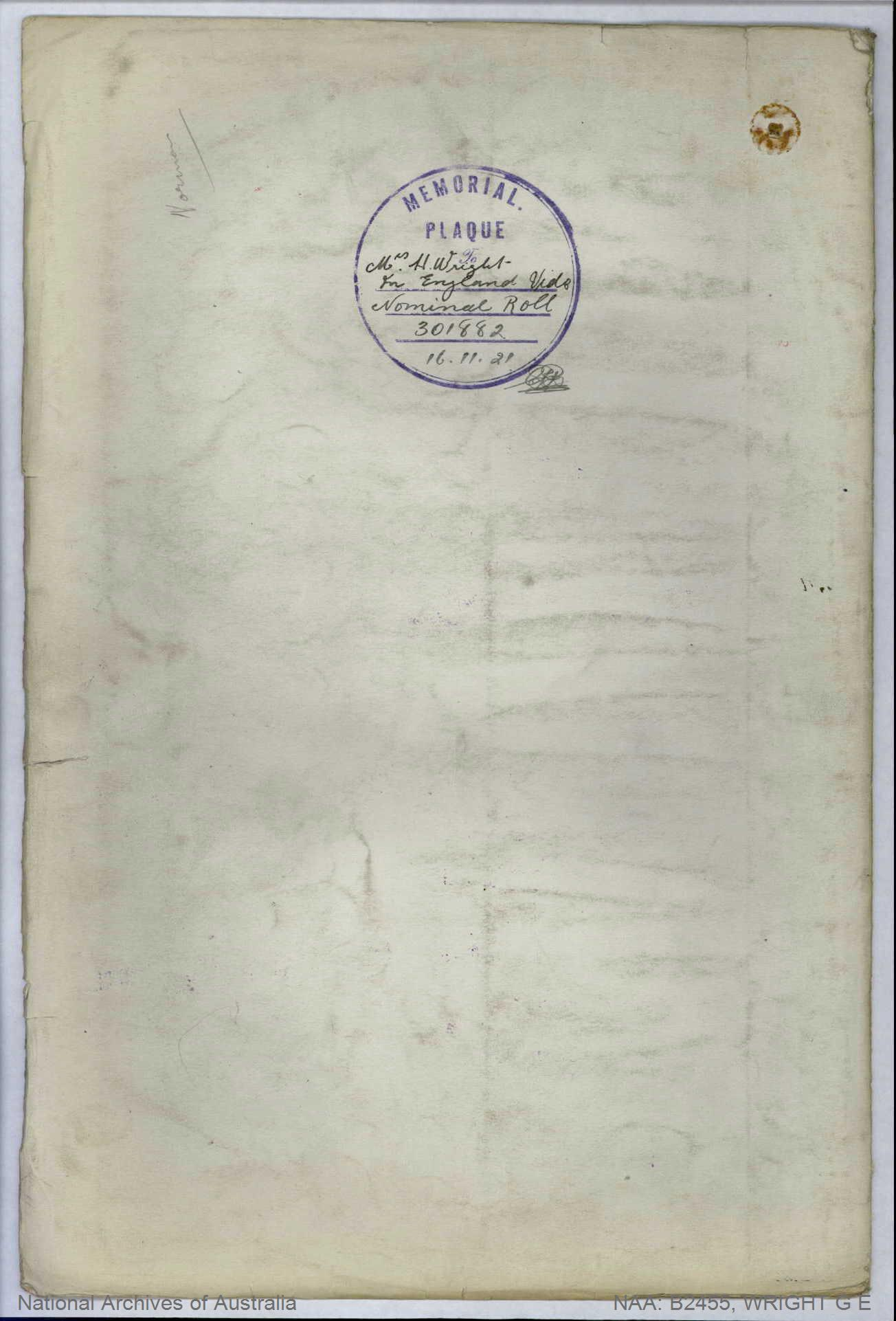 Wright George Eric : SERN 1853 : POB Liverpool England : POE Liverpool NSW : NOK M Wright Hannah