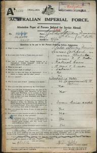 Yelds Stanley Darwin : SERN 2258 : POB Cathcart NSW : POE Bombala NSW : NOK M Yelds Adeline