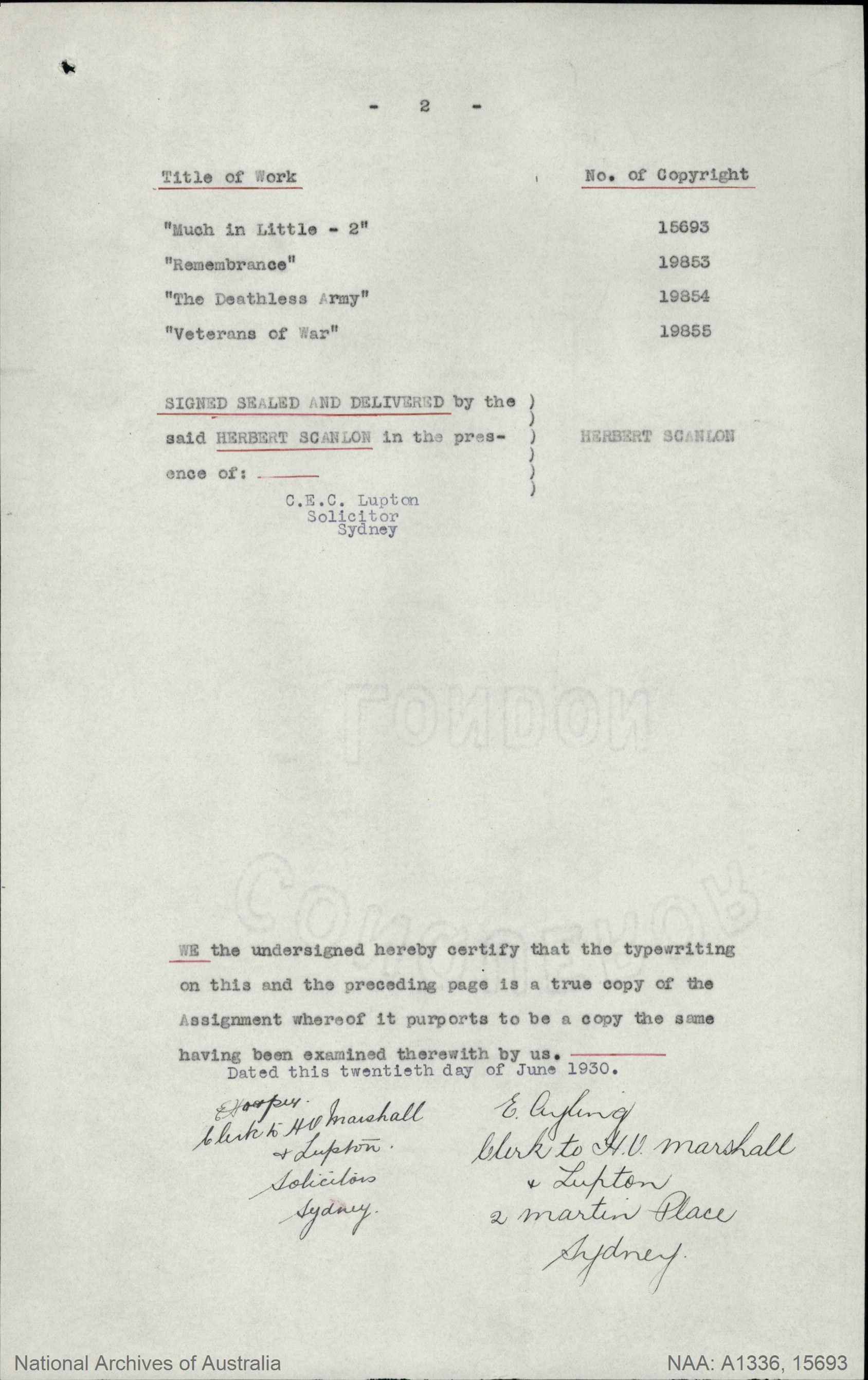 ... ADDRESS Sydney : TITLE OF WORK Much in Little Digger Stories (No 2) :  TYPE OF WORK Literary : APPLICANT Herbert Scanlon : DATE OF APPLICATION 20  Dec ...