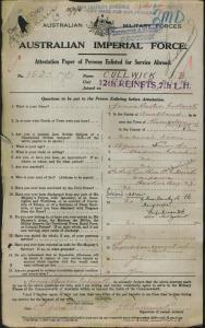 Cullwick James Barton : SERN 1625 : POB Kingston Norfolk Island : POB Liverpool NSW : NOK F Cullwick Rev Thomas Cartwright