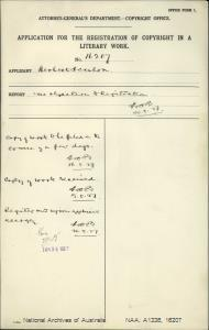 AUTHOR Herbert Scanlon : ADDRESS Sydney : TITLE OF WORK The Deathless Army : TYPE OF WORK Literary : APPLICANT Herbert Scanlon : DATE OF APPLICATION 16 May 1927 : DATE COPYRIGHT REGISTERED 29 Jun 1927 : WORK ENCLOSED? Yes