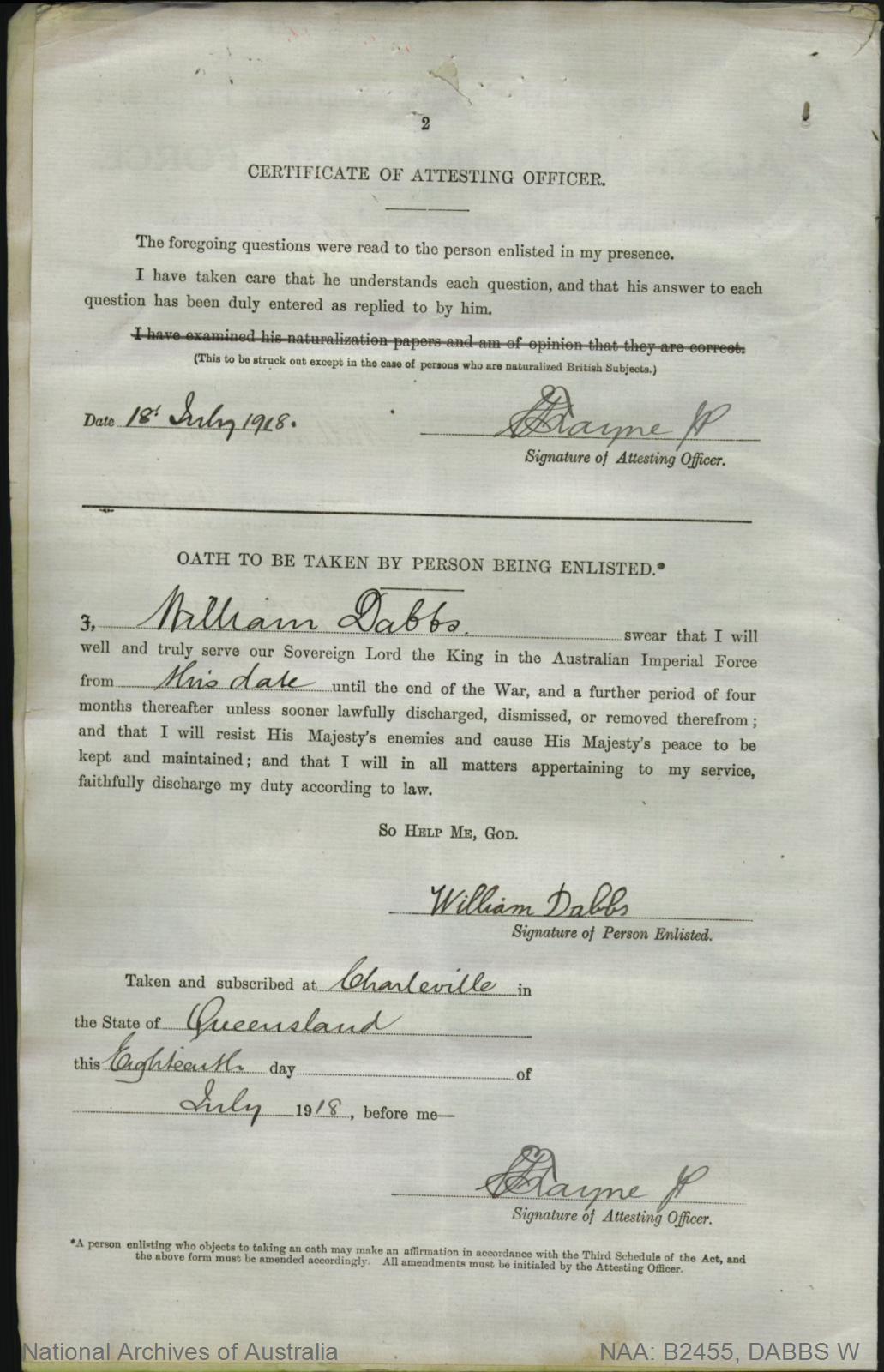 Dabbs William : SERN 28318 : POB Walford England : POE Charleville QLD : NOK N/A