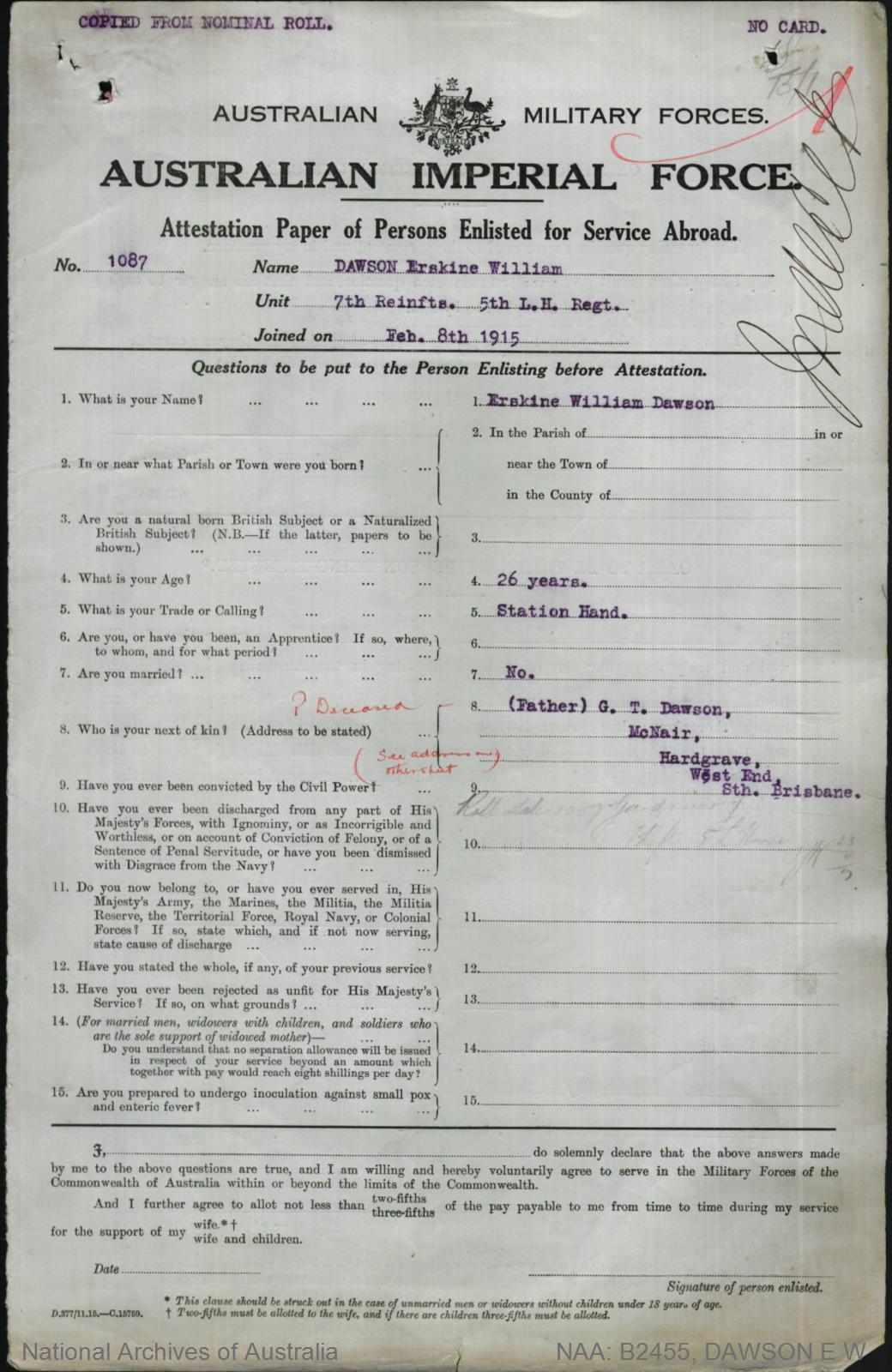 Dawson Erskine William : SERN Lieutenant 1087 : POB N/A : POE N/A : NOK F Dawson G T