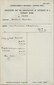 AUTHOR Herbert Scanlon : ADDRESS Sydney : TITLE OF WORK Veterans of War : TYPE OF WORK Literary : APPLICANT Herbert Scanlon : DATE OF APPLICATION 26 May 1930 : DATE COPYRIGHT REGISTERED 30 May 1930 : WORK ENCLOSED? Yes