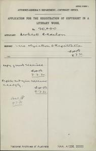 AUTHOR Herbert Scanlon : ADDRESS Sydney : TITLE OF WORK Old Memories : TYPE OF WORK Literary : APPLICANT Herbert Scanlon : DATE OF APPLICATION 2 Jul 1930 : DATE COPYRIGHT REGISTERED 9 Jul 1930 : WORK ENCLOSED? [Yes]