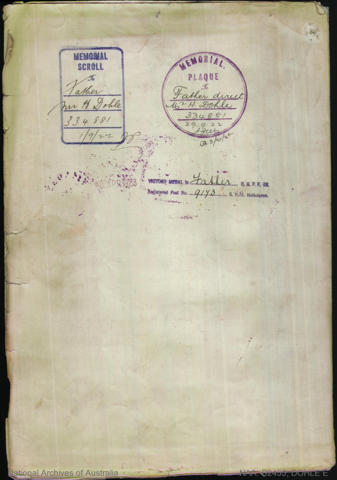 Dohle Edmund : SERN 2792 : POB Tahara VIC : POE Melbourne VIC : NOK F Dohle Hermann
