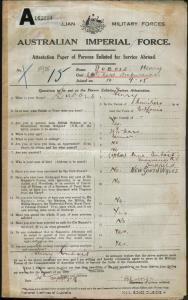 Dubois Henry : SERN 11955 : POB Port Louis Mauritius : POE Holsworthy NSW : NOK M Dubois Anna