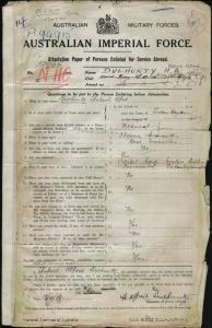 Dulhunty Hubert Alfred : SERN 32965 : POB Queanbeyan NSW : POE Liverpool NSW : NOK W Dulhunty Edith Evelyn
