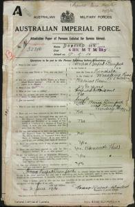 Dunford Horace Rupert : SERN 32716 : POB Kinchela NSW : POE Marrickville NSW : NOK M Dunford Annie
