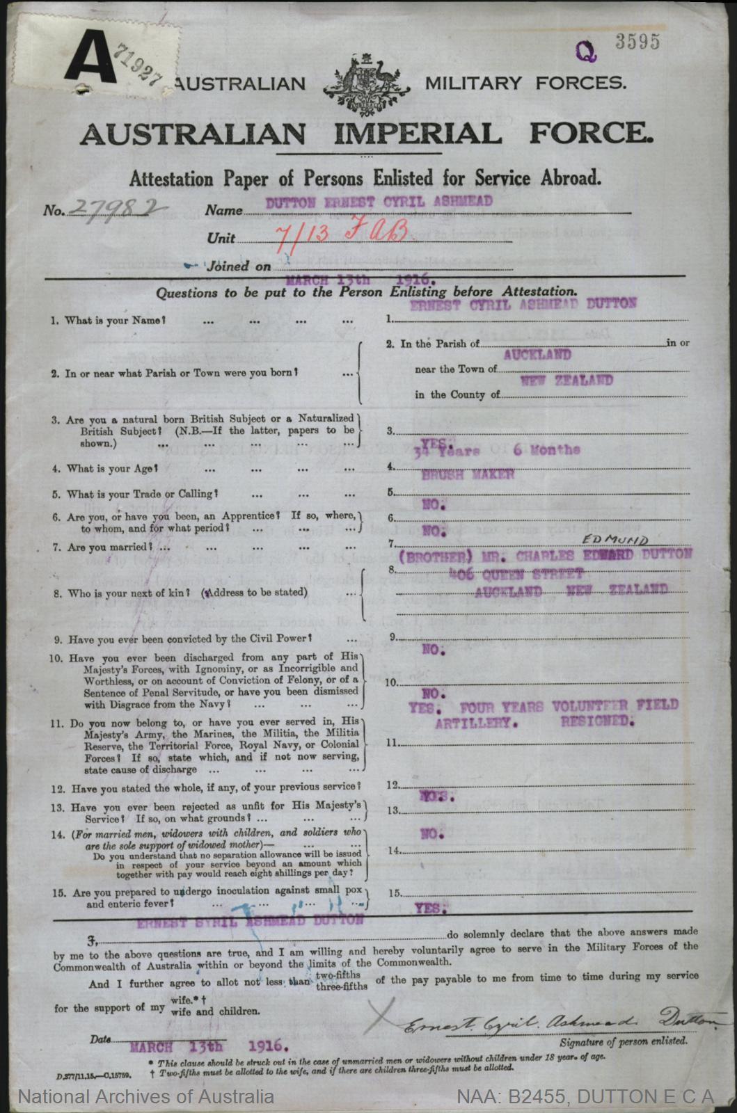 Dutton Ernest Cyril Ashmead : SERN 27982 : POB Auckland New Zealand : POE Brisbane QLD : NOK B Dutton Charles Edmund