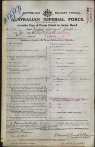 Dwyer Edmund Joseph : SERN 1889 : POB Brisbane QLD : POE Brisbane QLD : NOK M Dwyer Catherine