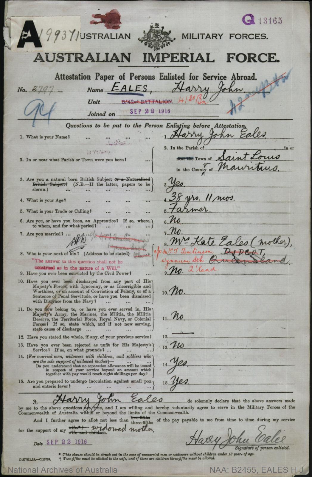 Eales Harry John : SERN 2797 : POB Saint Louis Mauritius : POE Maryborough QLD : NOK M Eales Kate