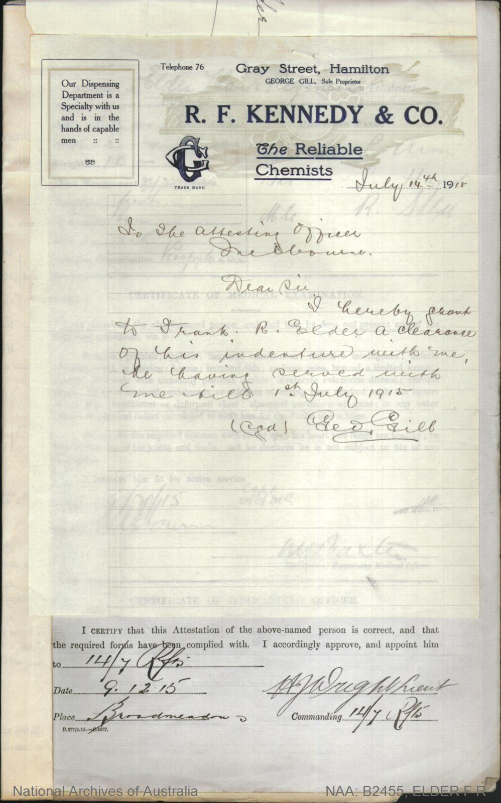 Elder Frank Reginald : SERN 4480 : POB Charlton VIC : POE Melbourne VIC : NOK Elder Mr R A