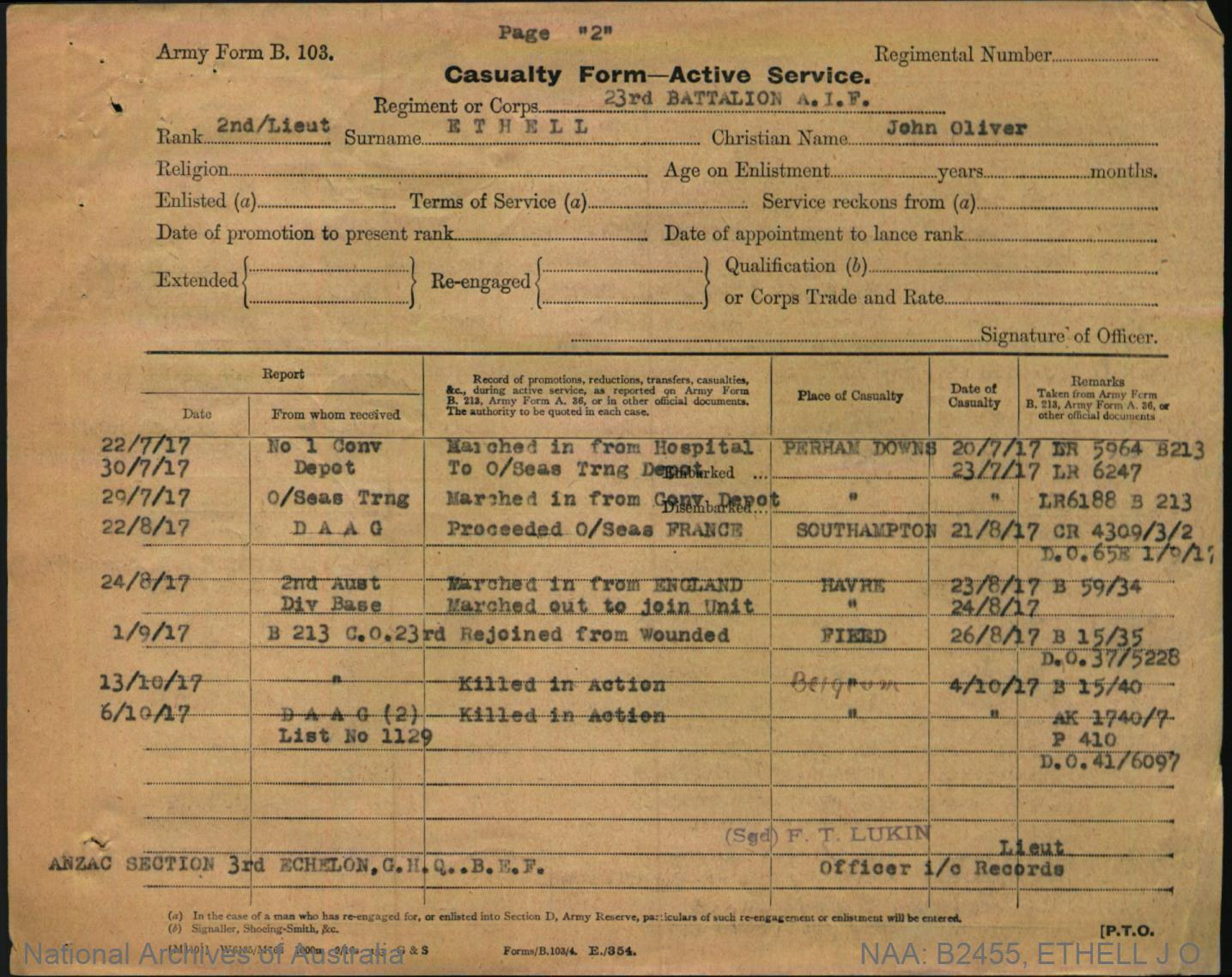Ethell John Oliver : SERN Second Lieutenant 3341 : POB Cape Town South Africa : POE Enoggera QLD : NOK F Ethell Rev Alfred William