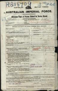 Everard Arthur : SERN 33625 : POB Albury NSW : POE Sydney NSW : NOK Plunkett Thomas James