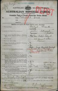 Farleigh Frank : SERN Depot : POB Collingwood VIC : POE Melbourne VIC : NOK W Farleigh Jessie Elizabeth
