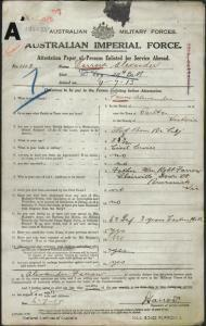 Farrow Alexander : SERN 1118 : POB Carlton VIC : POE Melbourne VIC : NOK F Farrow William Robert