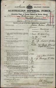Fleming James Holmes : SERN 3107 : POB Macora VIC : POE Melbourne VIC : NOK F Fleming George