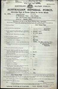 Ford John Thomas : SERN Depot 4388 : POB Launceston TAS : POE Claremont TAS : NOK W Ford Mary Cecilia