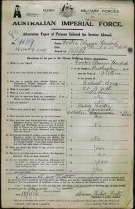 Foster Clarence Herbert : SERN 2149 : POB Rutherglen VIC : POE Cooma NSW : NOK Foster Isabell