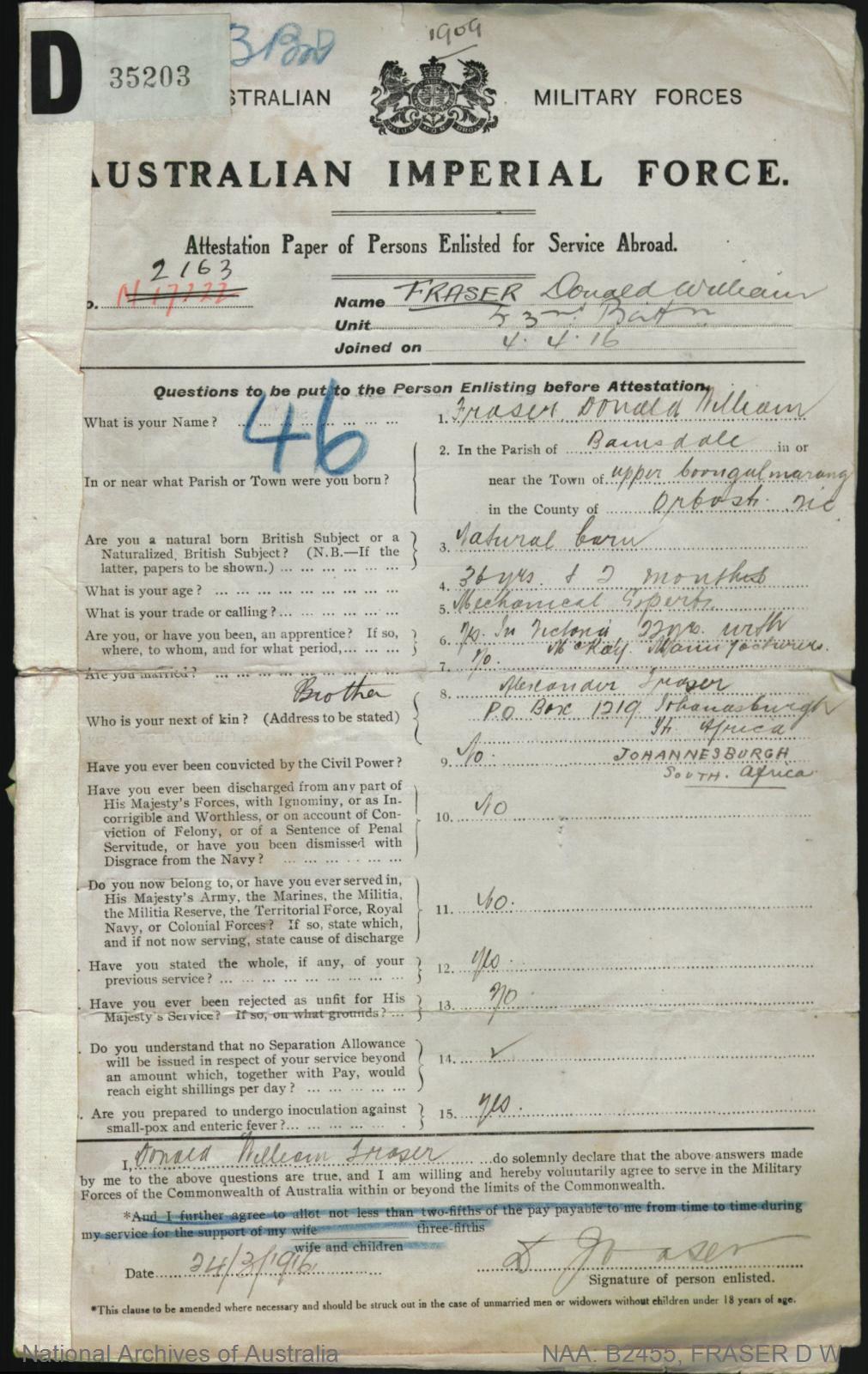 Fraser Donald William : SERN 2163 : POB Bairnsdale VIC : POE Bathurst NSW : NOK B Fraser Alexander