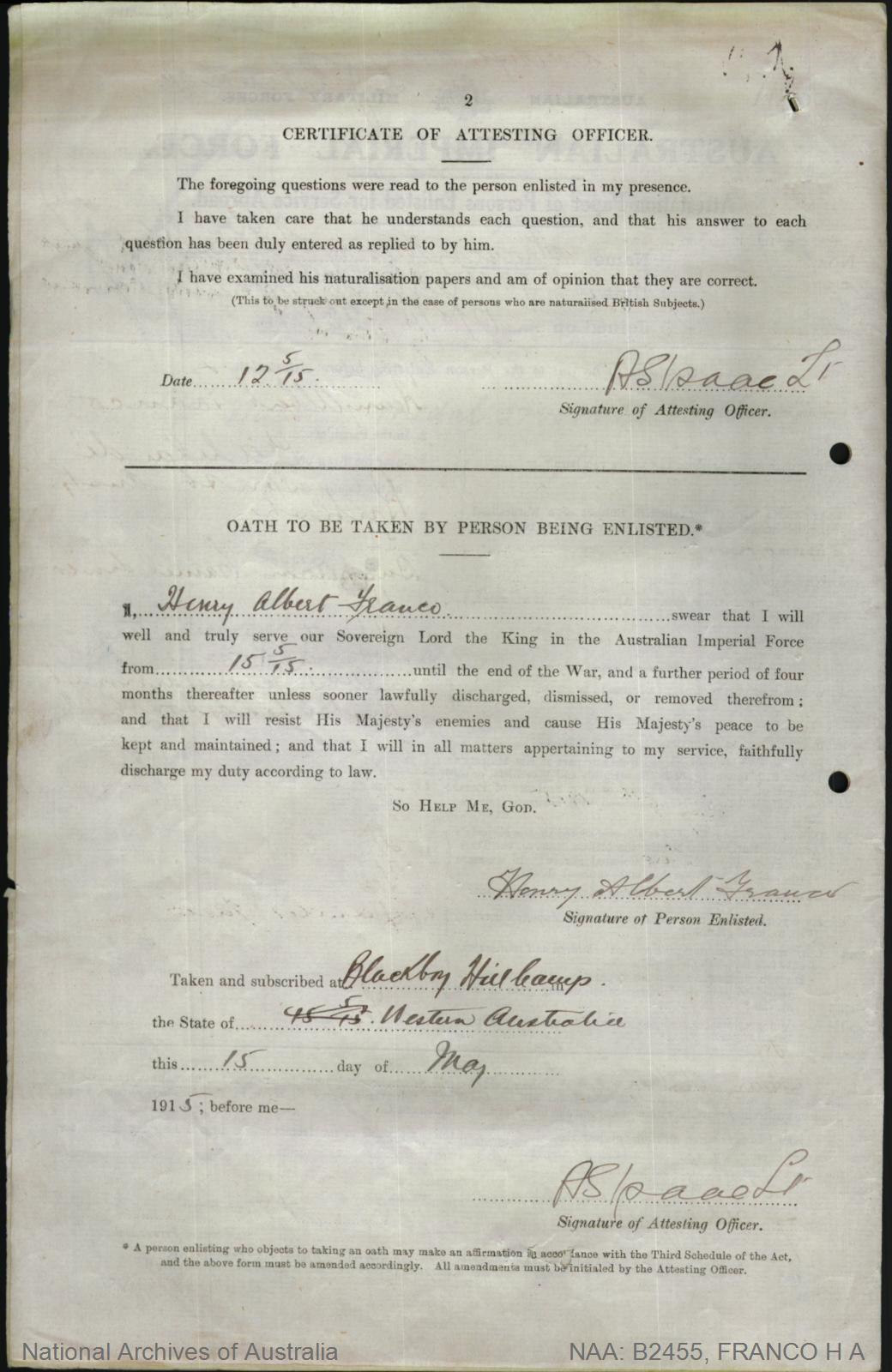 Franco Henry Albert : SERN 1098 : POB Port Adelaide SA : POE Blackboy Hill WA : NOK M Walton Nora