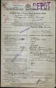 Fraser Selby Howett : SERN Depot 69743 : POB Caulfield VIC : POE Melbourne VIC : NOK F Fraser John