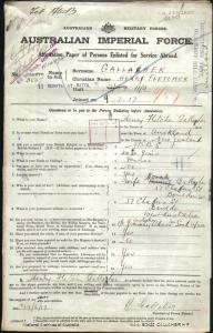 Gallaher Henry Fletcher : SERN 3867 : POB Auckland New Zealand : POE Kalgoorlie WA : NOK W Gallaher Norah
