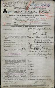 George Alfred Thomas : SERN 515  : POB  Mount Egerton VIC : POE Melbourne VIC : NOK  W  George Lilla