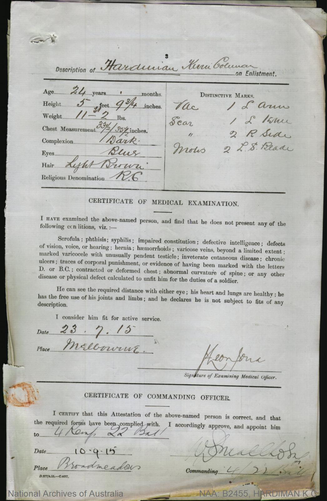 Hardiman kevin coleman service number 2282 place of birth hardiman kevin coleman service number 2282 place of birth melbourne vic aiddatafo Choice Image