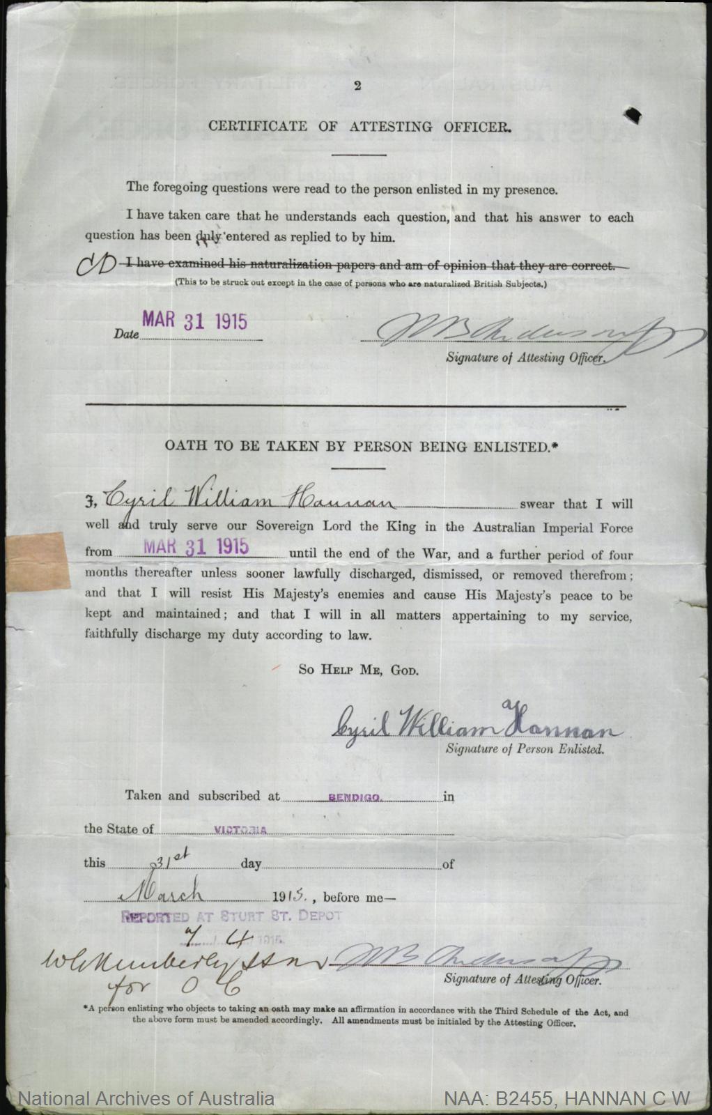 HANNAN Cyril William : Service Number - 397 : Place of Birth - Bendigo VIC : Place of Enlistment - Bendigo VIC : Next of Kin - (Wife) HANNAN Vera