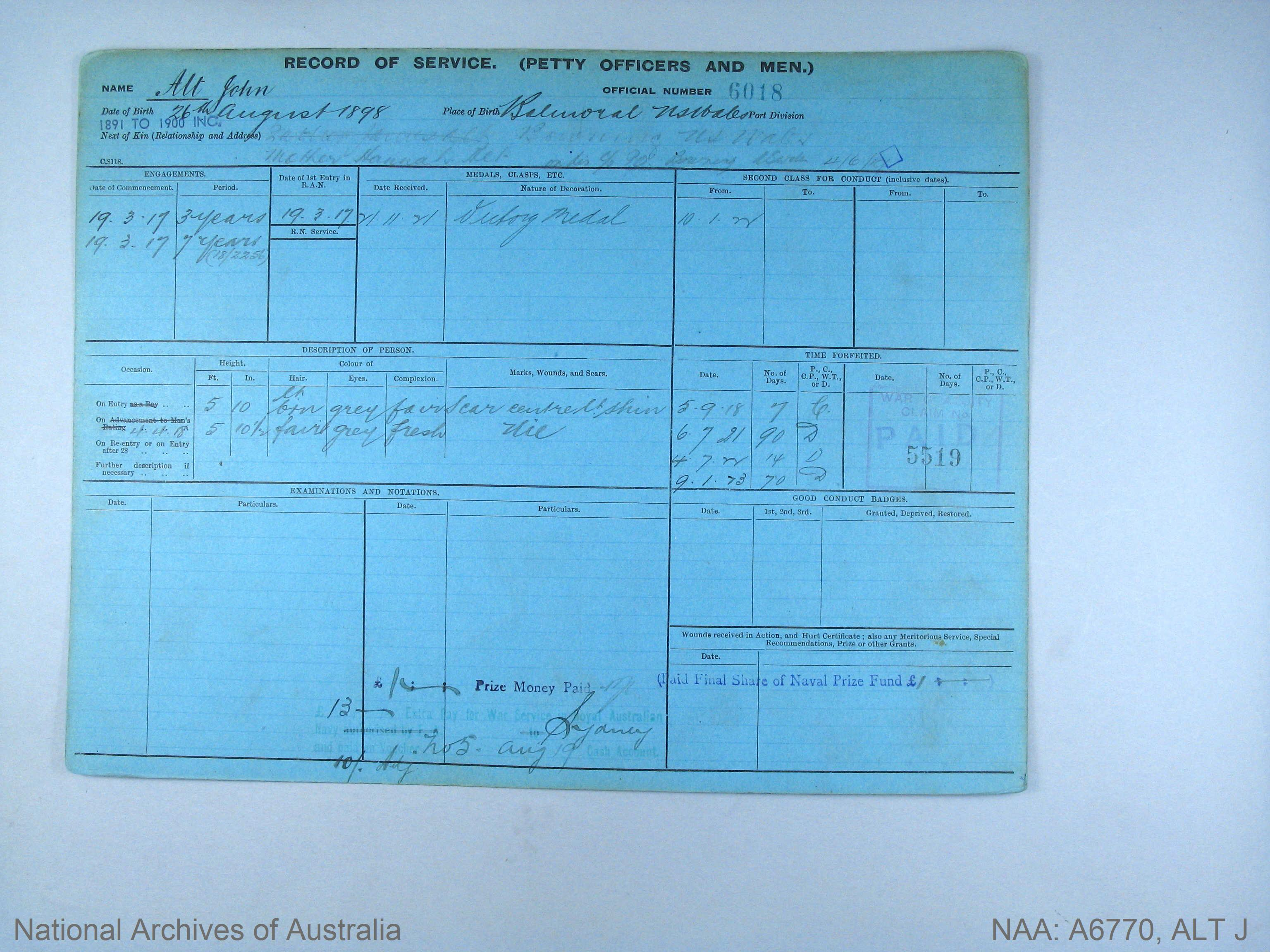 ALT JOHN : Service Number - 6018 : Date of birth - 26 Aug 1898 : Place of birth - BALMORAL NSW : Place of enlistment - Unknown : Next of Kin - ALT HANNAH