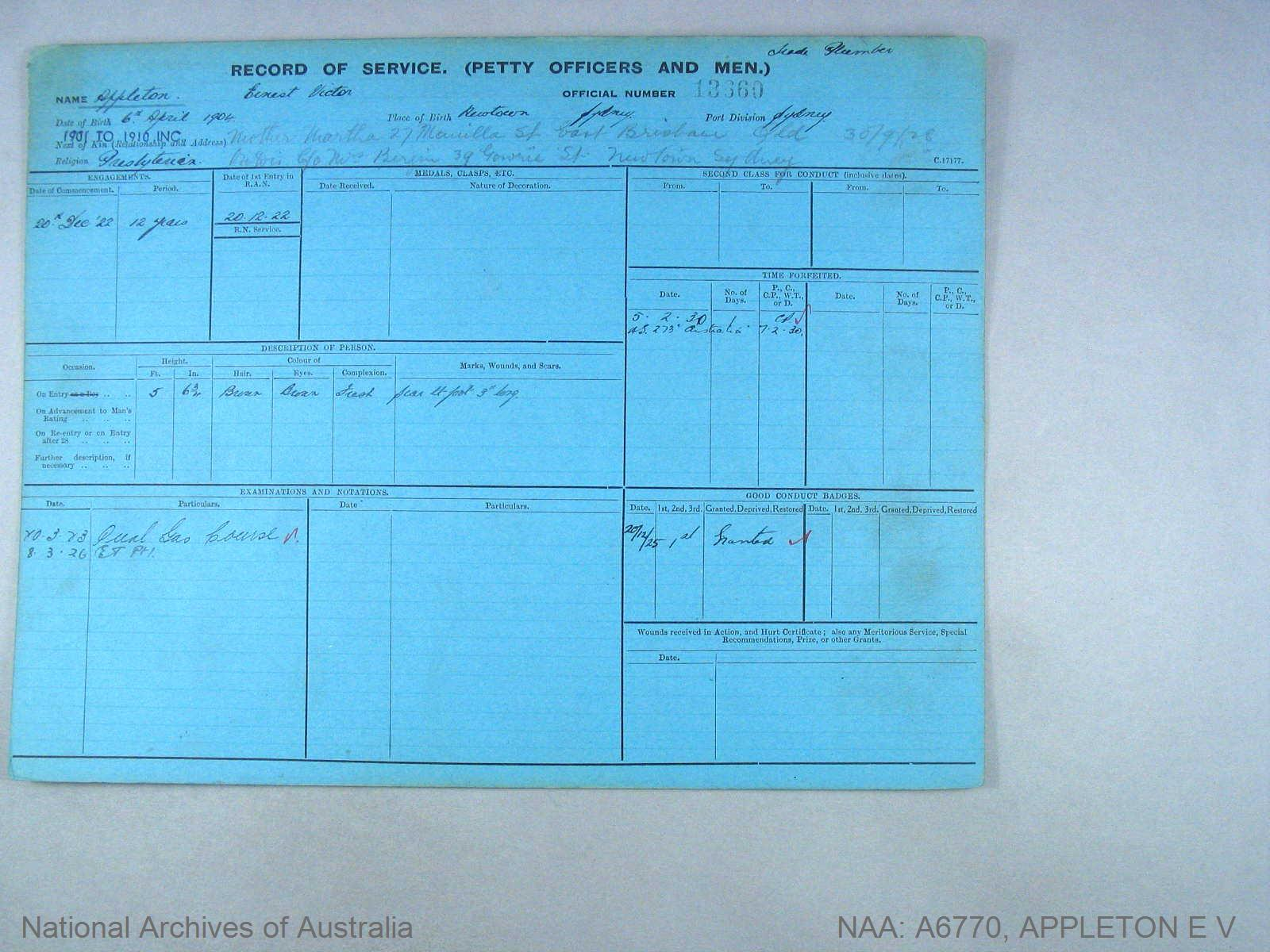 APPLETON ERNEST VICTOR : Service Number - 13360 : Date of birth - 06 Apr 1904 : Place of birth - NEWTOWN : Place of enlistment - SYDNEY : Next of Kin - APPLETON MARTHA