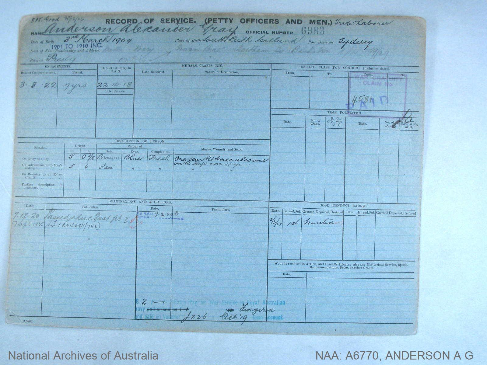 ANDERSON ALEXANDER GRAY : Service Number - 6983 : Date of birth - 03 Mar 1904 : Place of birth - SOUTH LEITH SCOTLAND : Place of enlistment - SYDNEY : Next of Kin - ANDERSON MARY