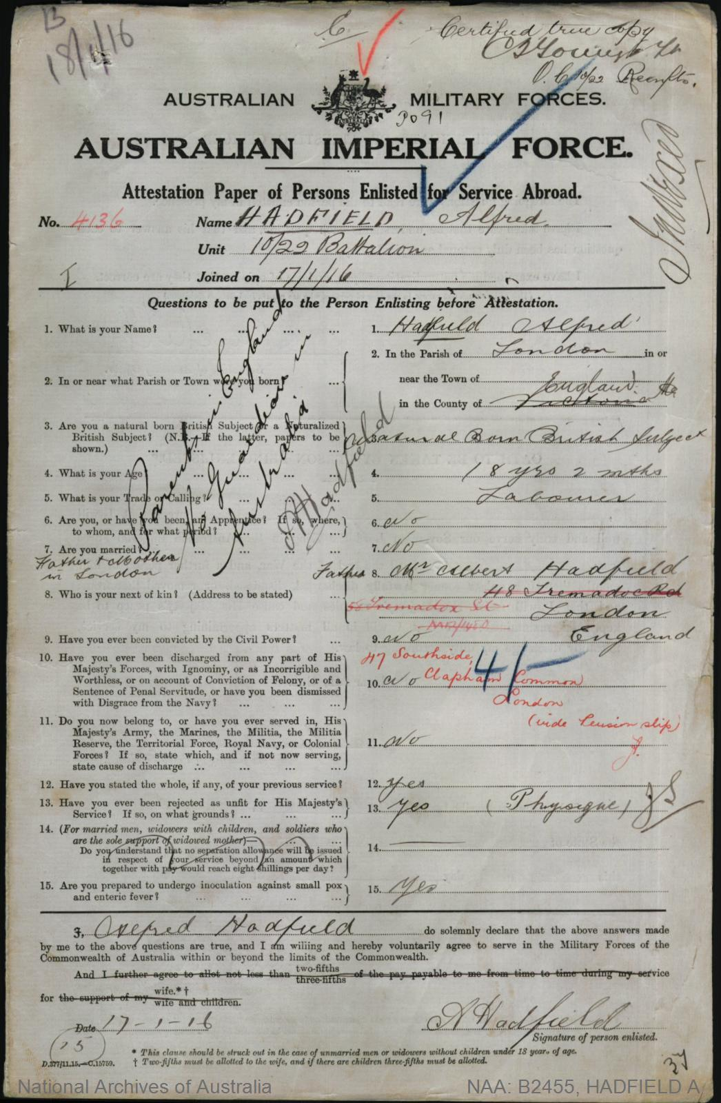 HADFIELD Alfred : Service Number - 4136 : Place of Birth - London England : Place of Enlistment - Melbourne VIC : Next of Kin - (Father) HADFIELD Albert